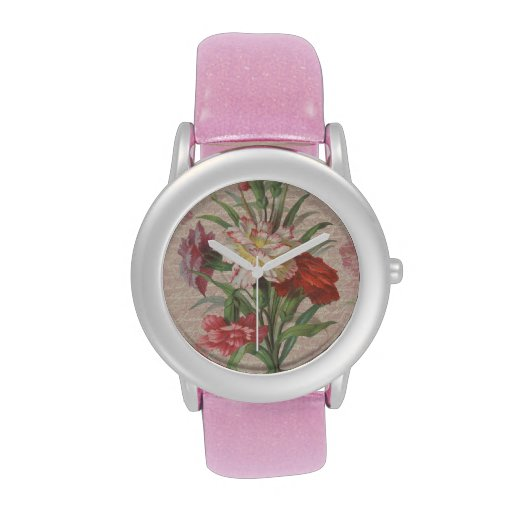 Vintage style bouquet on aged floral and script wristwatch