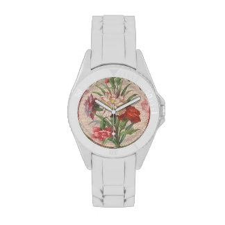 Vintage style bouquet on aged floral and script watch