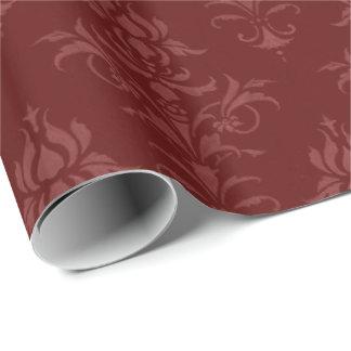 Vintage Style Burgundy Wrapping Paper