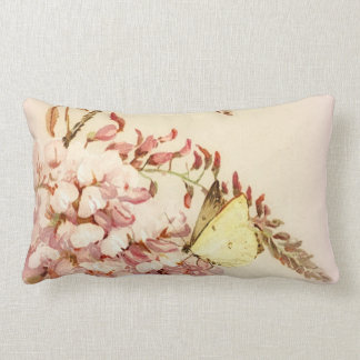 Vintage Style Butterfly Flowers Pillow