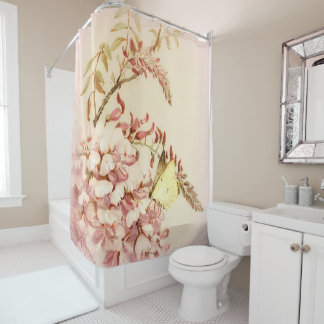 Vintage Style Butterfly Flowers Shower Curtain