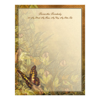 Vintage Style Butterfly Illustration Custom Letterhead