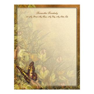 Vintage Style Butterfly Illustration Letterhead