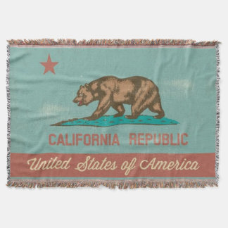 Vintage Style California Flag Throw Blanket