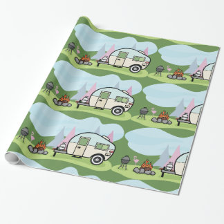Vintage Style Camper Glossy Wrapping Paper