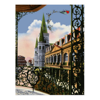Vintage Style Cathedral with Sleigh Postcard