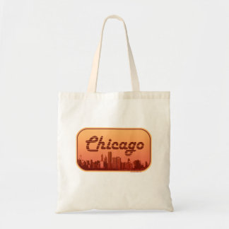 Vintage Style Chicago Skyline Tote Bag