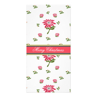 Vintage Style Christmas Poinsettia and Holly Photo Card