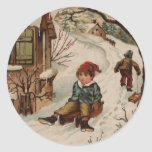Vintage style Christmas scene Stickers