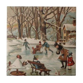 Vintage style Christmas scene Tile