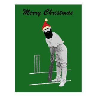 Vintage style cricketing christmas gifts postcard