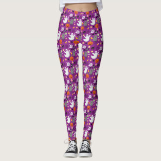 Vintage Style Cute Halloween Creatures Pattern Leggings