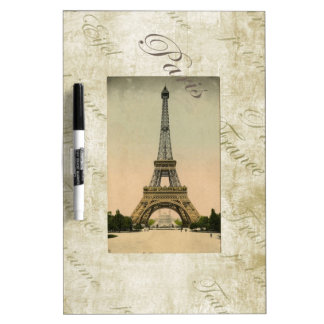 Vintage Style Eiffel Tower Art Dry Erase Board