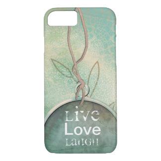 Vintage Style Faux Lace Live, Love, Laugh iPhone 8/7 Case