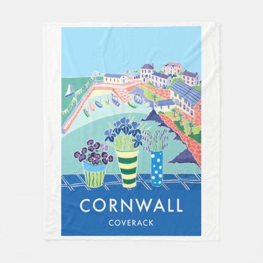 Vintage style fleece blanket of Coverack Cornwall