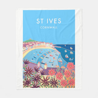 Vintage style fleece blanket of St Ives, Cornwall