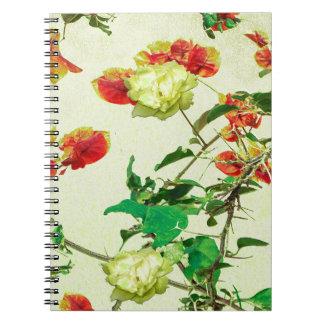 Vintage Style Floral Design Spiral Notebook