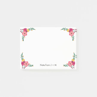 Vintage Style Floral Flower Sets Custom Wedding Post-it Notes