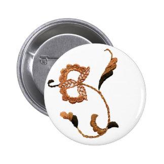Vintage Style Floral Motif in Beige Brown 2 Inch Round Button