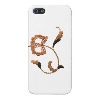Vintage Style Floral Motif in Beige Brown iPhone 5/5S Case