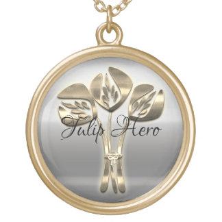 Vintage Style Gold Tulip Hero Necklace