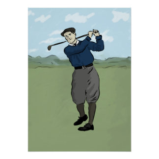 Vintage style golfer swinging his club poster