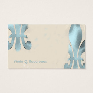 Vintage Style Green Fleur de Lis Business Card