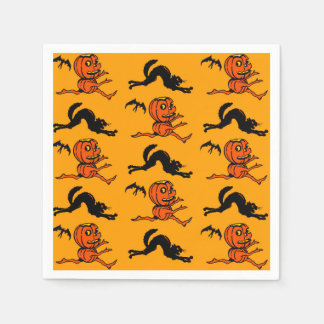 Vintage Style Halloween Pumpkin Cocktail Napkins Disposable Napkins