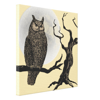 Vintage Style Halloween Wall Art - Owl Moon Tree Gallery Wrapped Canvas