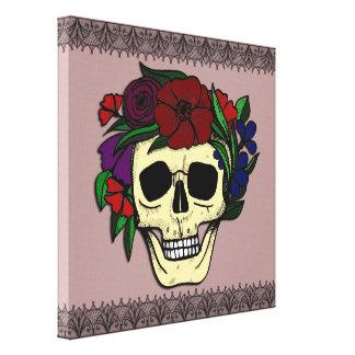 Vintage Style Halloween Wall Art - Skull & Flowers Canvas Print