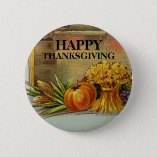 Vintage Style Happy Thanksgiving Card Button Pin