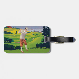 Vintage Style Highlands Golfing Scene V2 Luggage Tag