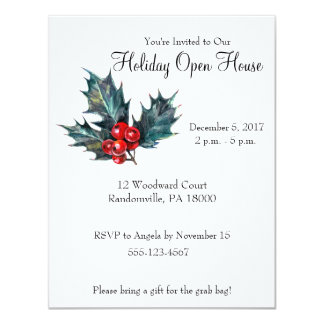Vintage Style Holly Sprig Christmas Party Invite