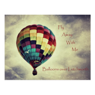 Vintage style hot air balloon postcard