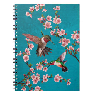 Vintage Style Hummingbirds & Cherry Blossoms Notebook
