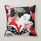 vintage style japanese geisha throw pillow