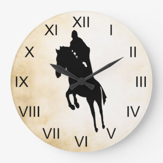 Vintage Style Jumping Silhouette Horse Large Clock
