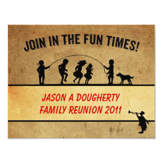"""Vintage Style Jumprope Silhouette Family Reunion 4.25"""" X 5.5"""" Invitation Card"""