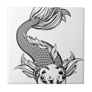 Vintage Style Koi Carp Fish Tile