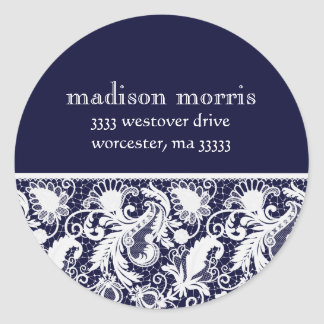 Vintage Style Lace Accent Return Address Round Sticker