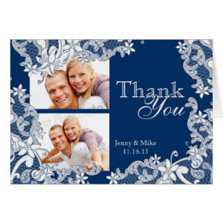 Vintage Style Lace Blue Photo Thank You Card