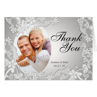 Vintage Style Lace Photo Silver Thank You Card
