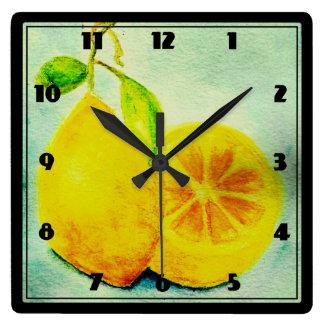 Vintage Style Lemons Square Wall Clock