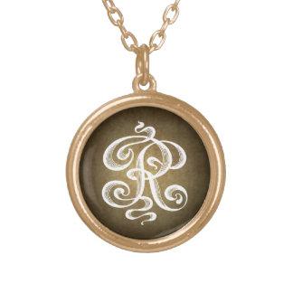 Vintage-Style Letter R Monogram Initial Charm Round Pendant Necklace