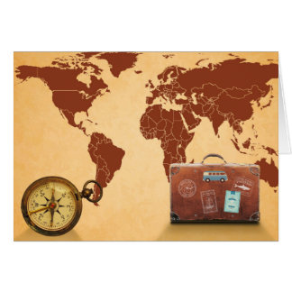 Vintage Style, Map of World Print Card