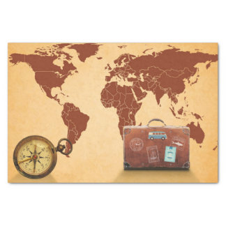 Vintage Style, Map of World Print Tissue Paper