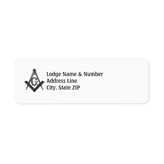 Vintage Style Masonic Lodge Address Label