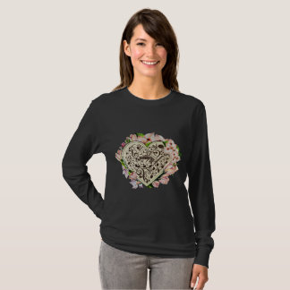Vintage style Music  Notes in heart with flowers T-Shirt