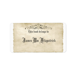 Vintage Style Old Parchment Add Your Name Label