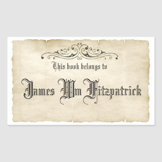 Vintage Style Old Parchment Book Name Label